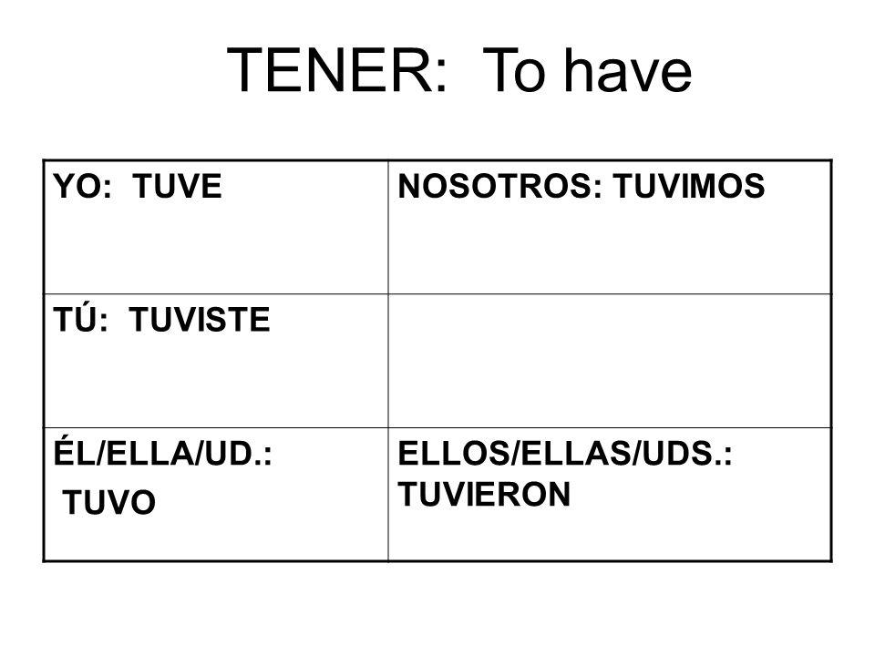 TENER: To have YO: TUVENOSOTROS: TUVIMOS TÚ: TUVISTE ÉL/ELLA/UD.: TUVO ELLOS/ELLAS/UDS.: TUVIERON