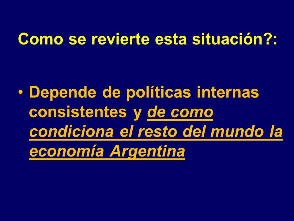 Como se revierte esta situación : Depende de políticas internas consistentes y de como condiciona el resto del mundo la economía Argentina