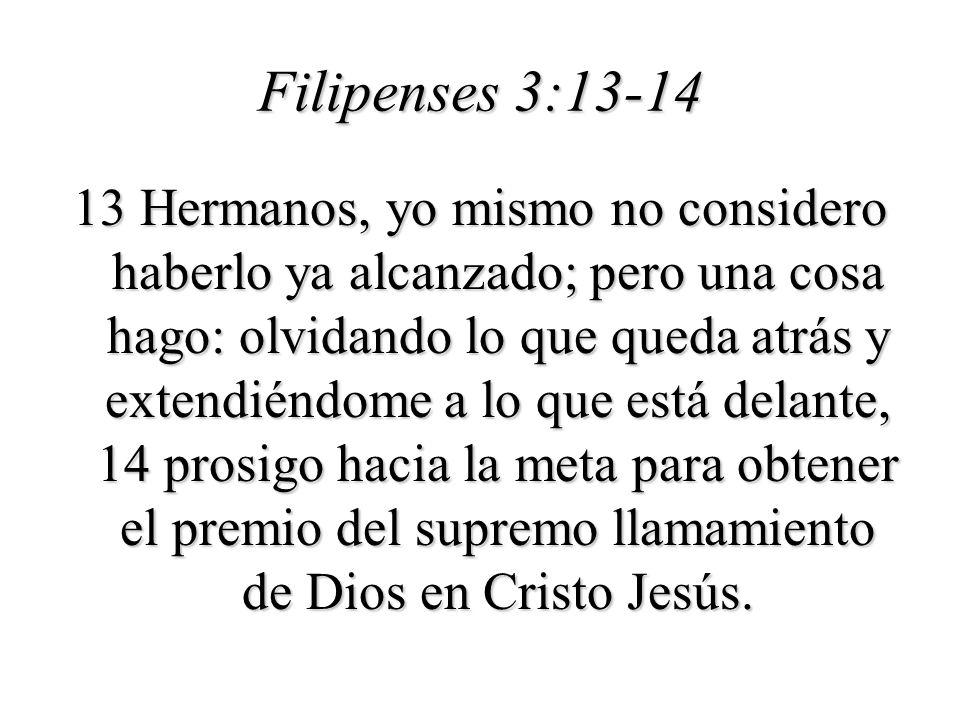 Filipenses 3:13-14 13 Hermanos, yo mismo no considero haberlo ya alcanzado; pero una cosa hago: olvidando lo que queda atrás y extendiéndome a lo que está delante, 14 prosigo hacia la meta para obtener el premio del supremo llamamiento de Dios en Cristo Jesús.