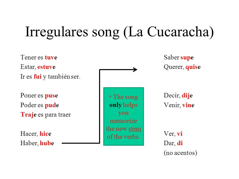 Irregulares (memorize) Ser/Ir yo fui tú fuiste usted, él, ella fue nosotros(as) fuimos vosotros(as) fuisteis ustedes, ellos, ellas fueron Irregulars do not have accent marks!!!