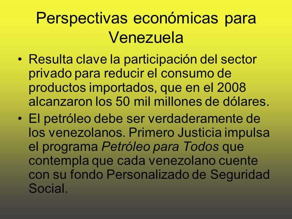 Perspectivas económicas para Venezuela Resulta clave la participación del sector privado para reducir el consumo de productos importados, que en el 2008 alcanzaron los 50 mil millones de dólares.