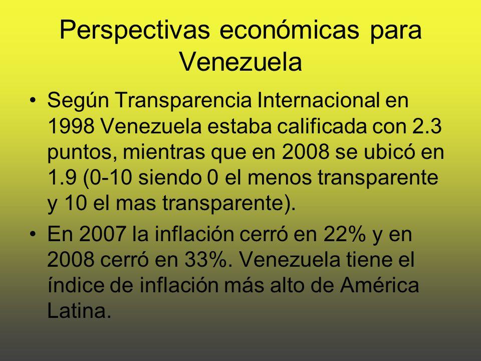 Perspectivas económicas para Venezuela Según Transparencia Internacional en 1998 Venezuela estaba calificada con 2.3 puntos, mientras que en 2008 se ubicó en 1.9 (0-10 siendo 0 el menos transparente y 10 el mas transparente).