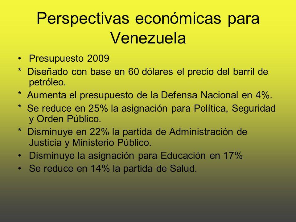 Perspectivas económicas para Venezuela Presupuesto 2009 * Diseñado con base en 60 dólares el precio del barril de petróleo.