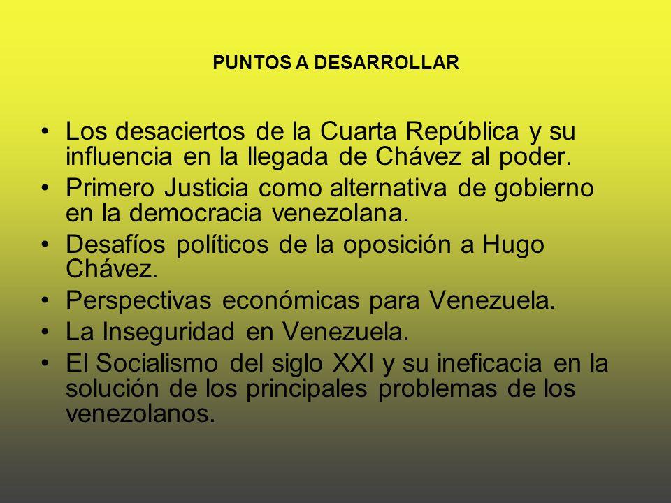 PUNTOS A DESARROLLAR Los desaciertos de la Cuarta República y su influencia en la llegada de Chávez al poder.