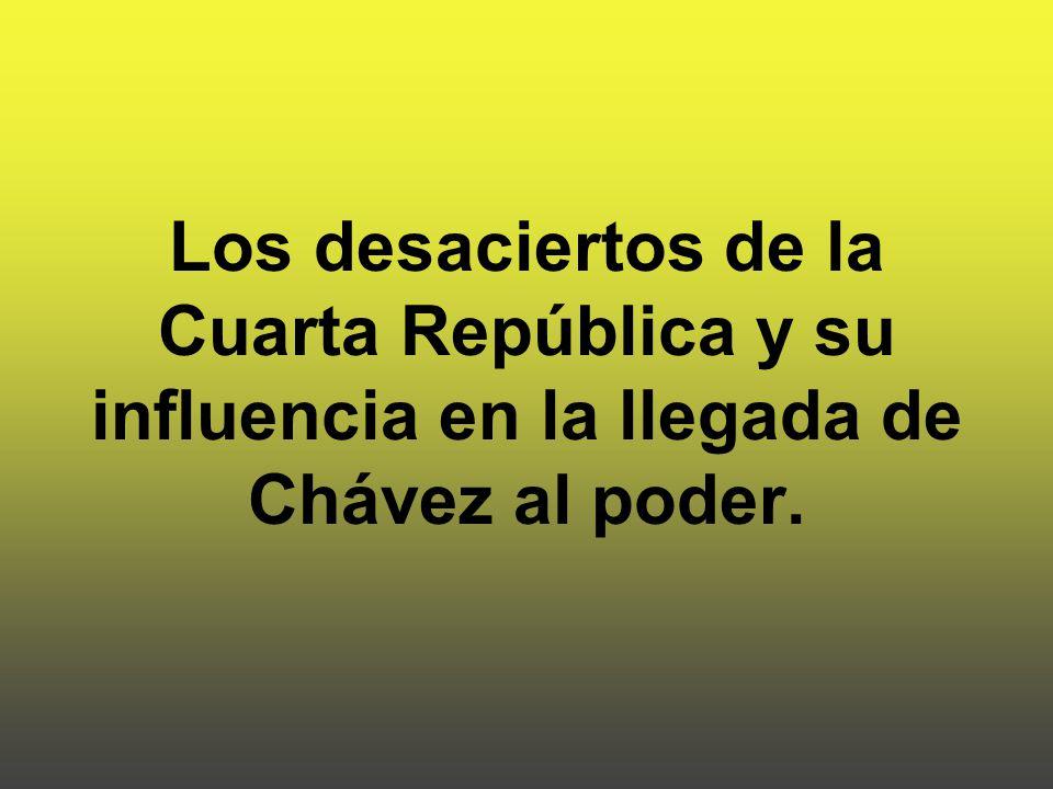 Los desaciertos de la Cuarta República y su influencia en la llegada de Chávez al poder.