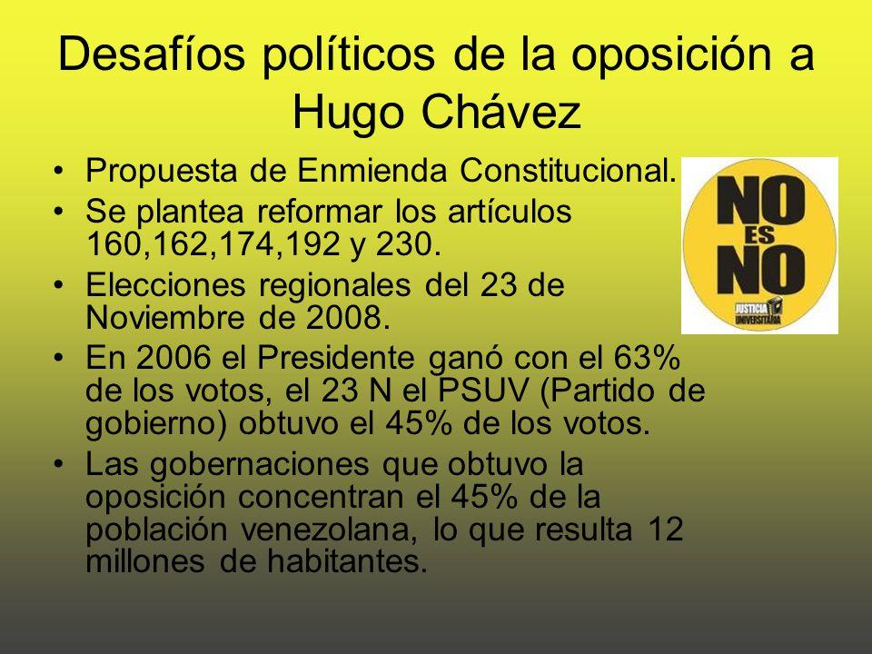 Desafíos políticos de la oposición a Hugo Chávez Propuesta de Enmienda Constitucional.