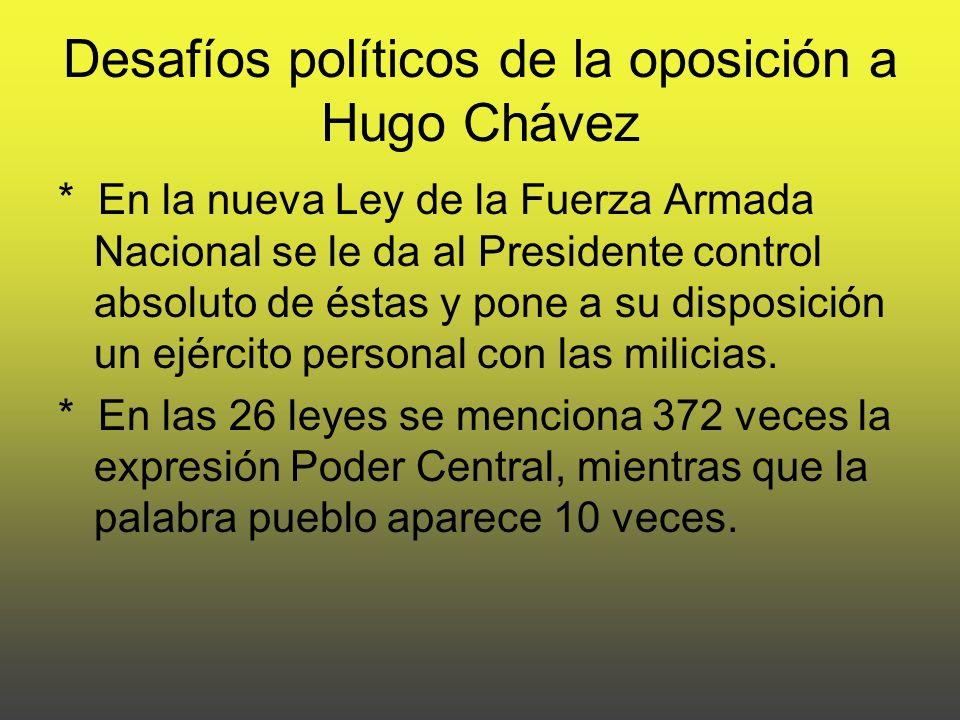 Desafíos políticos de la oposición a Hugo Chávez * En la nueva Ley de la Fuerza Armada Nacional se le da al Presidente control absoluto de éstas y pone a su disposición un ejército personal con las milicias.