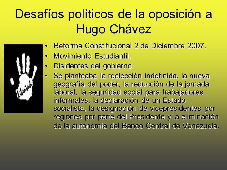 Desafíos políticos de la oposición a Hugo Chávez Reforma Constitucional 2 de Diciembre 2007.Reforma Constitucional 2 de Diciembre 2007.