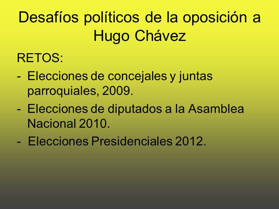 Desafíos políticos de la oposición a Hugo Chávez RETOS: -Elecciones de concejales y juntas parroquiales, 2009.