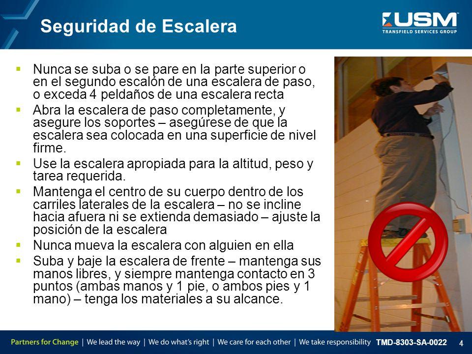 TMD-8303-SA-0022 5 Seguridad de Escalera  Nunca utilice artículos provisionales para elevar la escalera - cajas, sillas, mesas, estantes amontonados, etc.