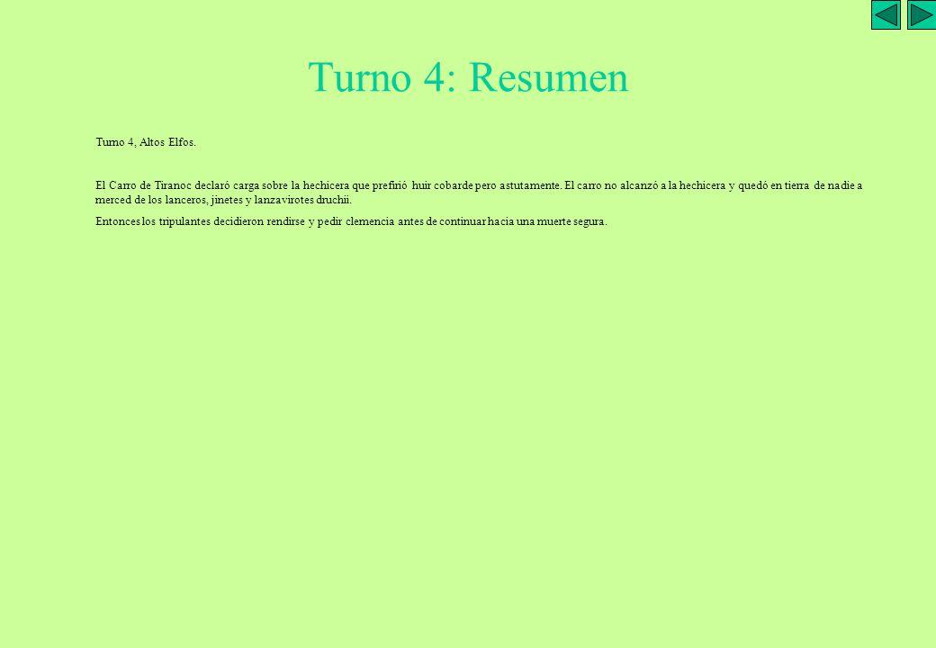Guerreros con lanzas Carro de Tiranoc T3: EO-Disparo Turno 3: Elfos Oscuros 1 Inicio del turno 2.