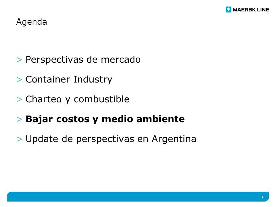 16 Agenda >Perspectivas de mercado >Container Industry >Charteo y combustible >Bajar costos y medio ambiente >Update de perspectivas en Argentina
