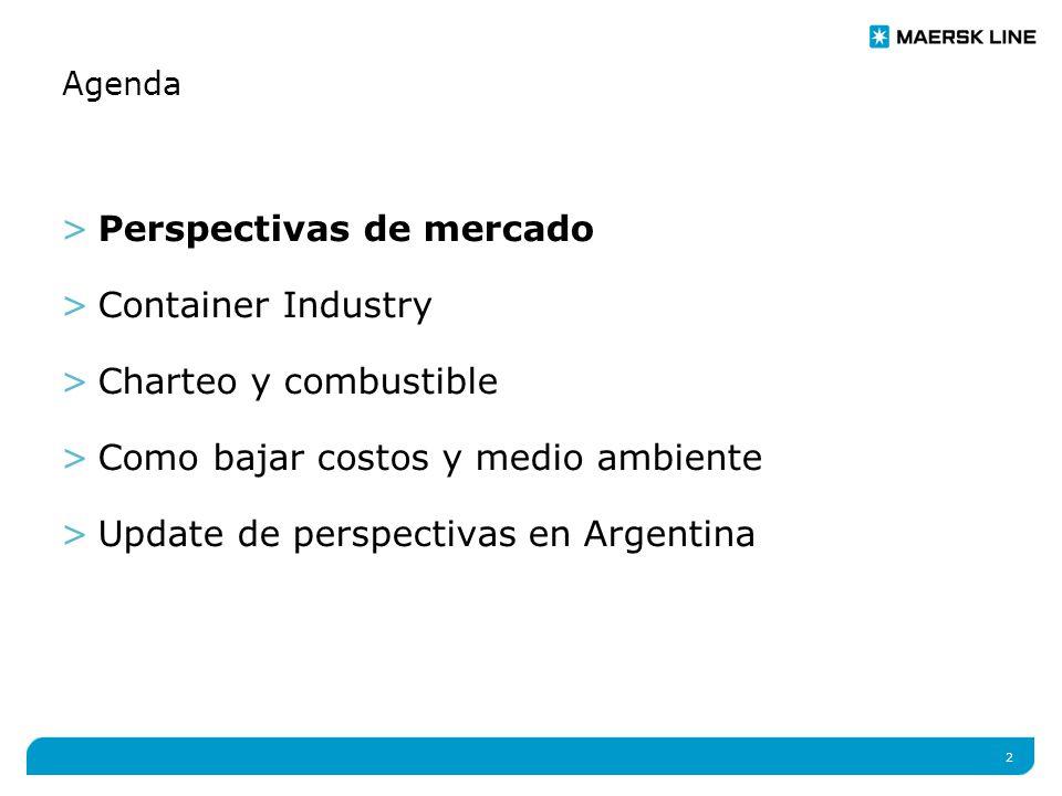 2 Agenda >Perspectivas de mercado >Container Industry >Charteo y combustible >Como bajar costos y medio ambiente >Update de perspectivas en Argentina