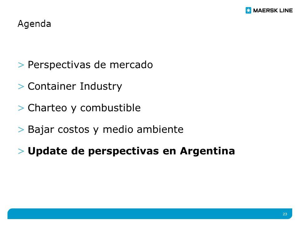 23 Agenda >Perspectivas de mercado >Container Industry >Charteo y combustible >Bajar costos y medio ambiente >Update de perspectivas en Argentina