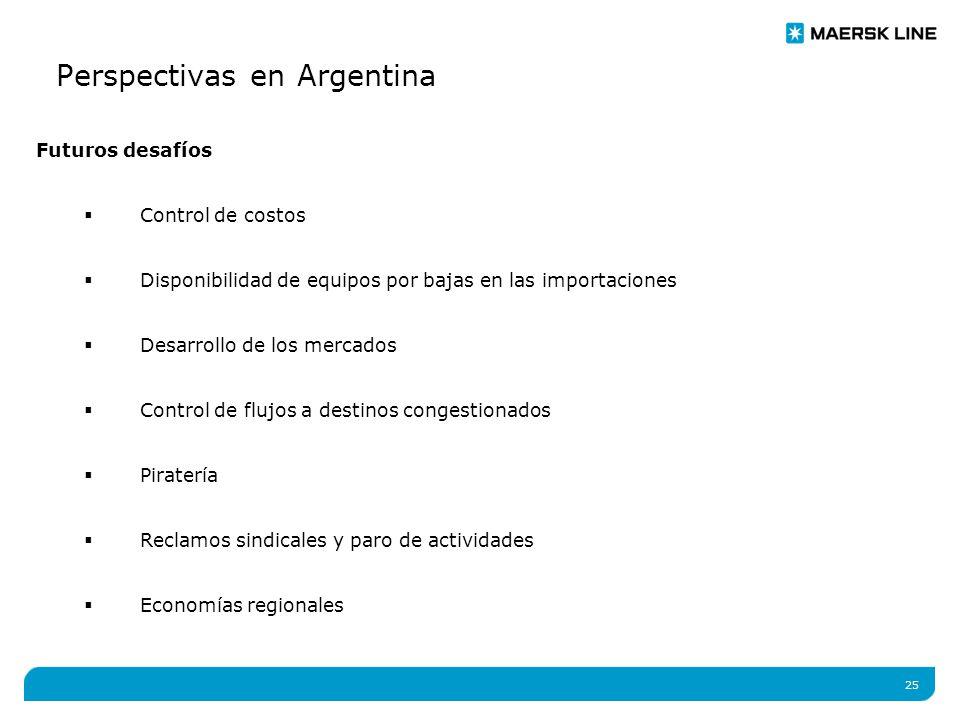 25 Perspectivas en Argentina Futuros desafíos  Control de costos  Disponibilidad de equipos por bajas en las importaciones  Desarrollo de los mercados  Control de flujos a destinos congestionados  Piratería  Reclamos sindicales y paro de actividades  Economías regionales