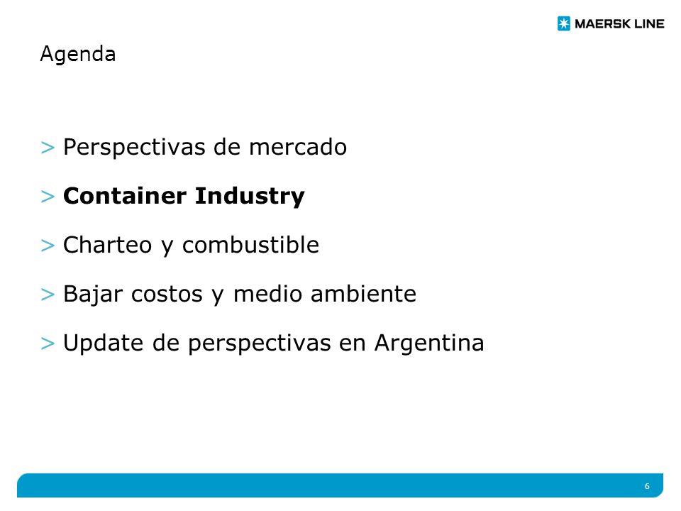 6 Agenda >Perspectivas de mercado >Container Industry >Charteo y combustible >Bajar costos y medio ambiente >Update de perspectivas en Argentina
