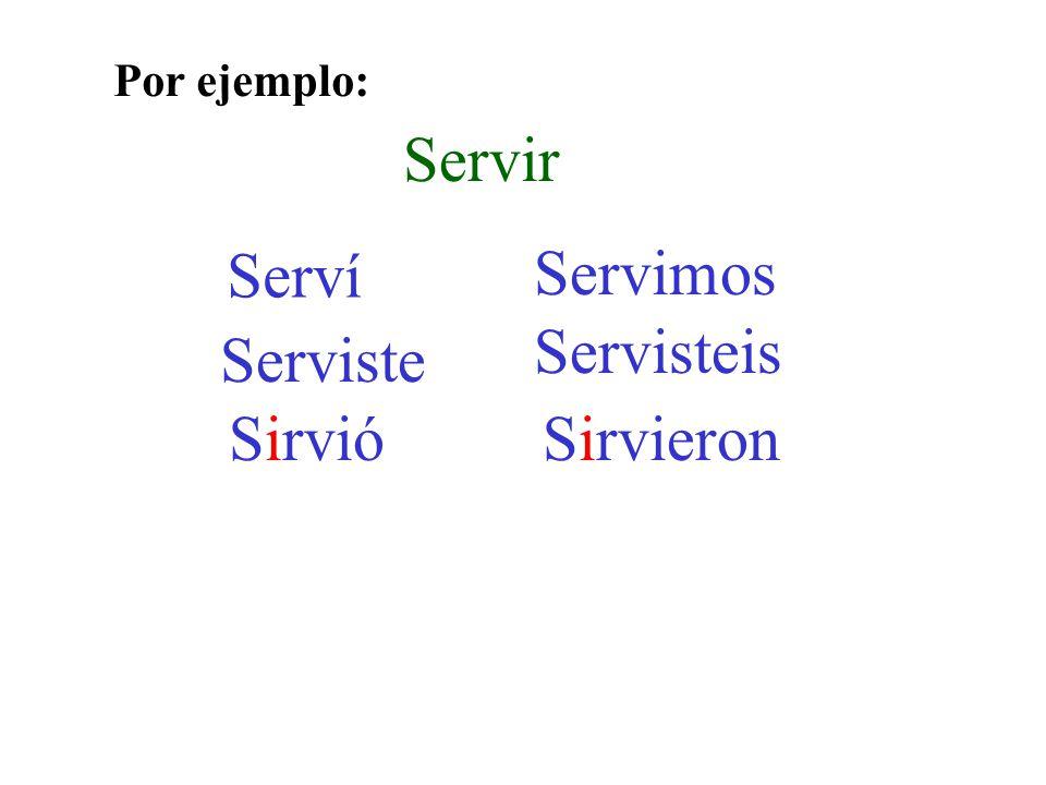 Servir Serví Serviste Sirvió Servimos Servisteis Sirvieron Por ejemplo: