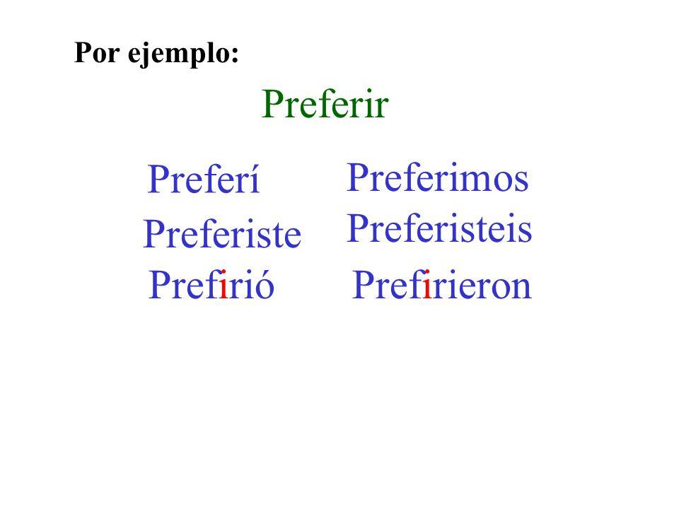 Preferir Preferí Preferiste Prefirió Preferimos Preferisteis Prefirieron Por ejemplo: