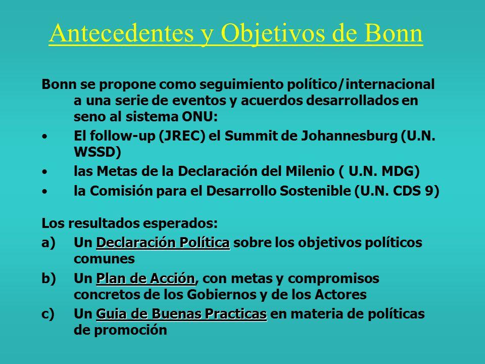 NUEVAS ( ) TENDENCIAS CONCEPTUALES EN MATERIA DE RENOVABLES : LOS DOCUMENTOS-BASE DE BONN