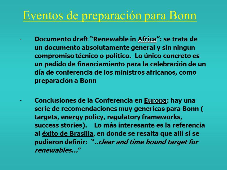 Antecedentes y Objetivos de Bonn Bonn se propone como seguimiento político/internacional a una serie de eventos y acuerdos desarrollados en seno al sistema ONU: El follow-up (JREC) el Summit de Johannesburg (U.N.