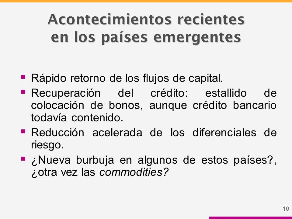 10 Acontecimientos recientes en los países emergentes  Rápido retorno de los flujos de capital.