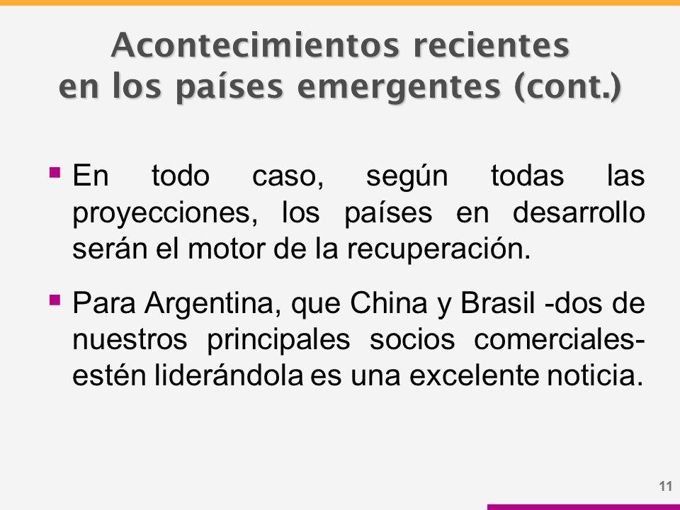 11 Acontecimientos recientes en los países emergentes (cont.)  En todo caso, según todas las proyecciones, los países en desarrollo serán el motor de la recuperación.