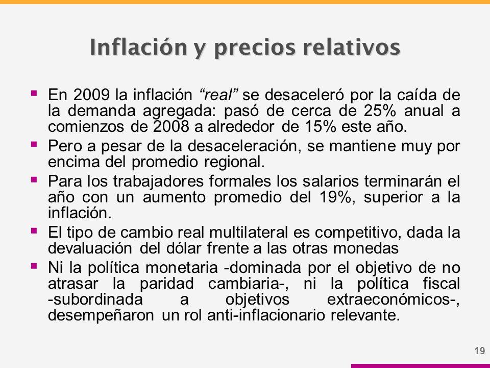 19 Inflación y precios relativos  En 2009 la inflación real se desaceleró por la caída de la demanda agregada: pasó de cerca de 25% anual a comienzos de 2008 a alrededor de 15% este año.