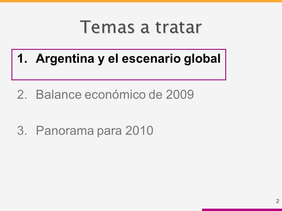 22 Temas a tratar 1.Argentina y el escenario global 2.Balance económico de 2009 3.Panorama para 2010
