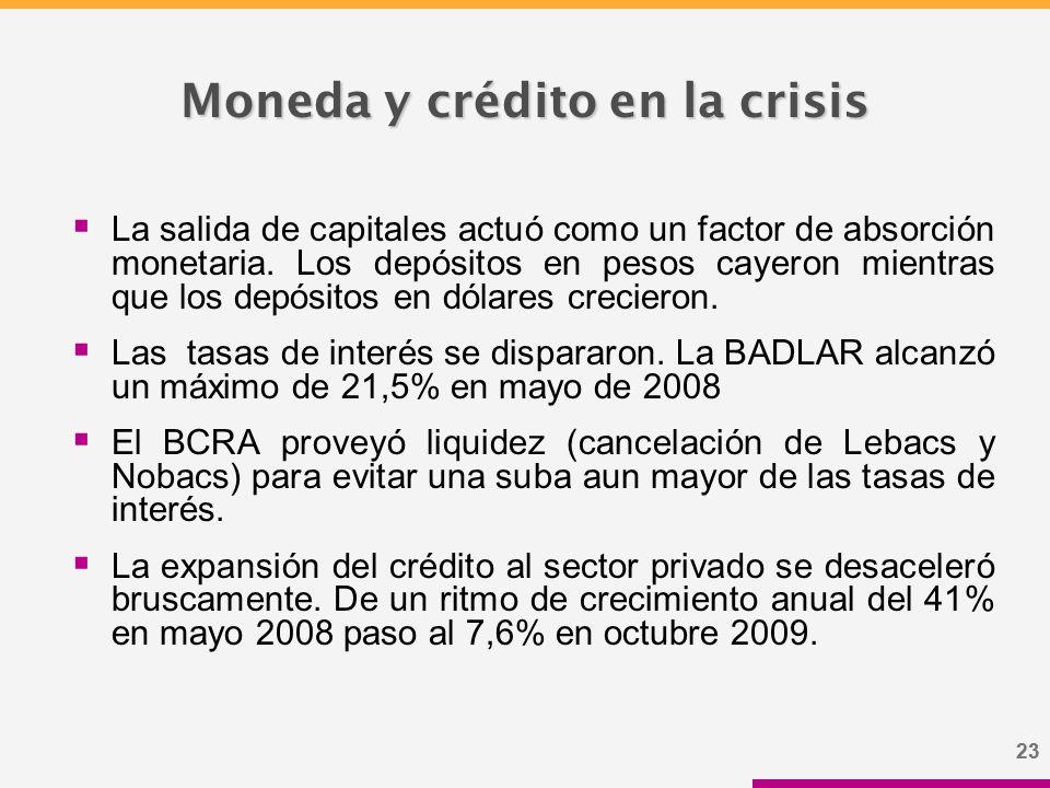 23 Moneda y crédito en la crisis  La salida de capitales actuó como un factor de absorción monetaria.