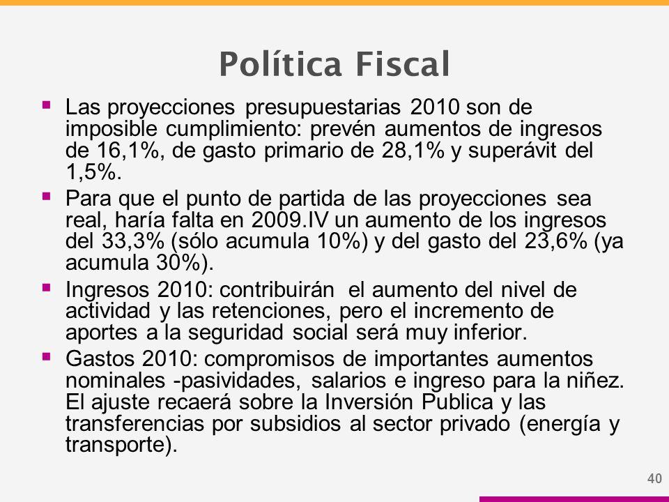 40 Política Fiscal  Las proyecciones presupuestarias 2010 son de imposible cumplimiento: prevén aumentos de ingresos de 16,1%, de gasto primario de 28,1% y superávit del 1,5%.