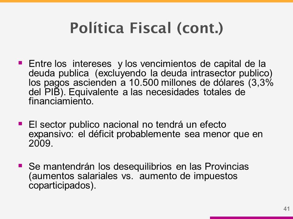 41 Política Fiscal (cont.)  Entre los intereses y los vencimientos de capital de la deuda publica (excluyendo la deuda intrasector publico) los pagos ascienden a 10.500 millones de dólares (3,3% del PIB).