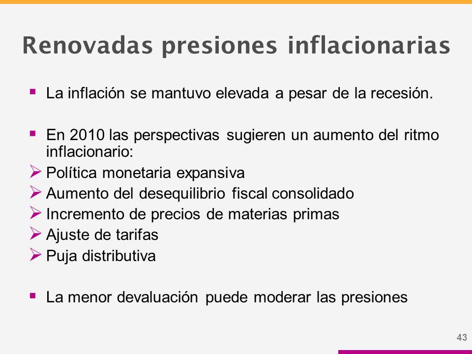 43 Renovadas presiones inflacionarias  La inflación se mantuvo elevada a pesar de la recesión.