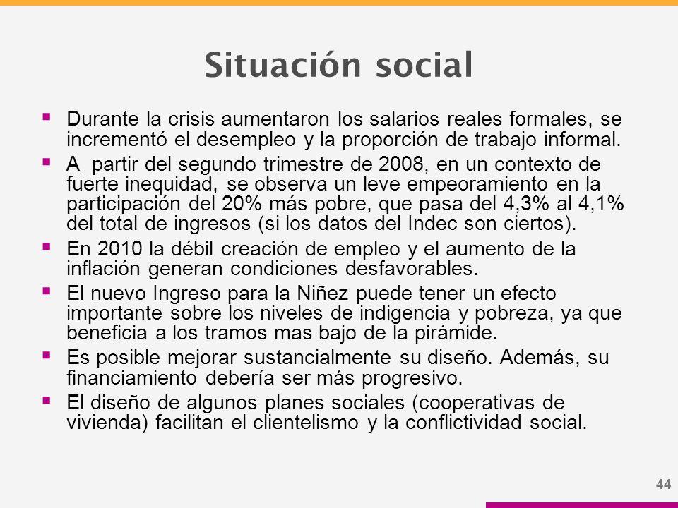 44 Situación social  Durante la crisis aumentaron los salarios reales formales, se incrementó el desempleo y la proporción de trabajo informal.