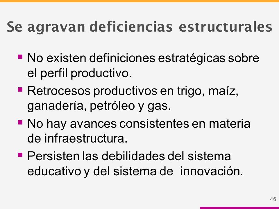46 Se agravan deficiencias estructurales  No existen definiciones estratégicas sobre el perfil productivo.