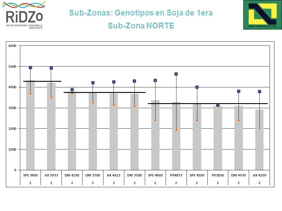 Sub-Zonas: Genotipos en Soja de 1era Sub-Zona NORTE