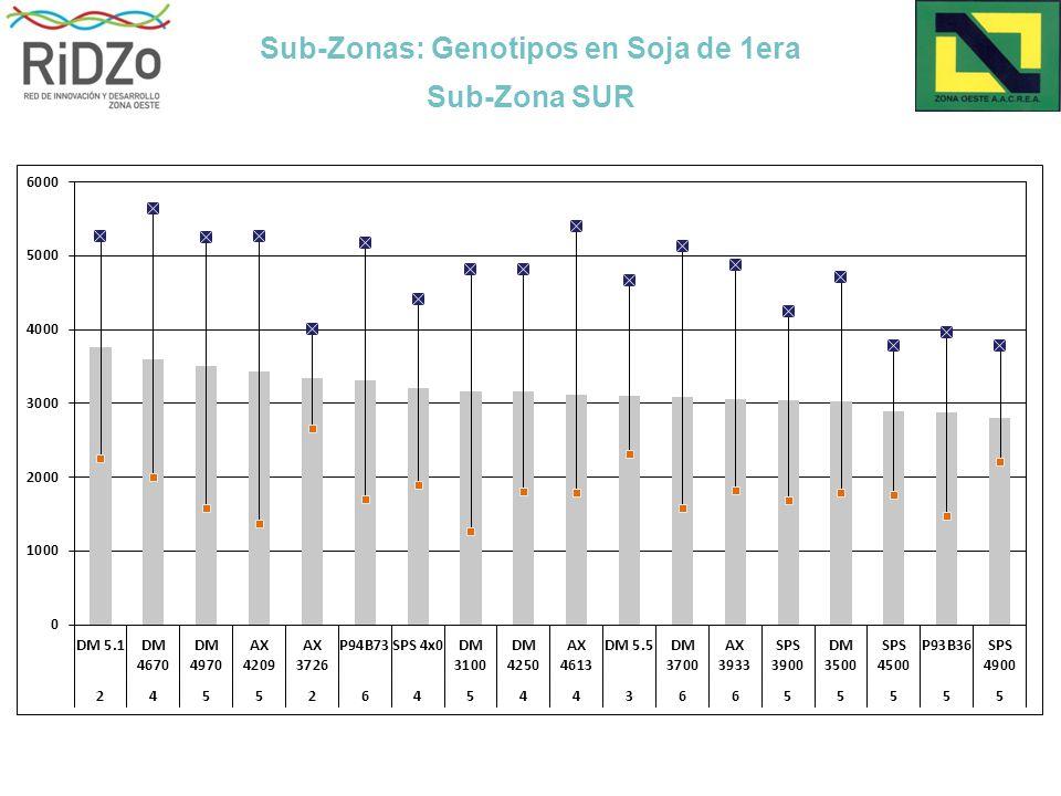 Sub-Zonas: Genotipos en Soja de 1era Sub-Zona SUR