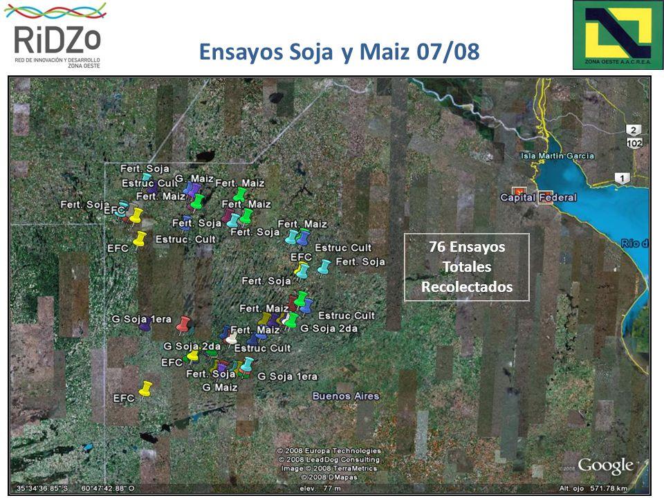 76 Ensayos Totales Recolectados Ensayos Soja y Maiz 07/08