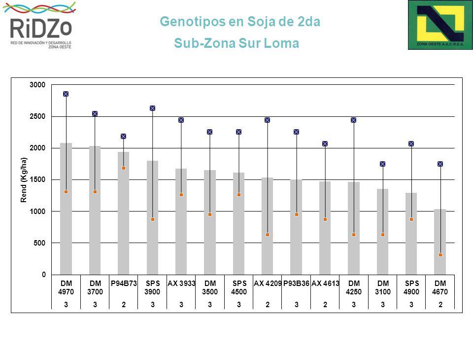 Genotipos en Soja de 2da Sub-Zona Sur Loma