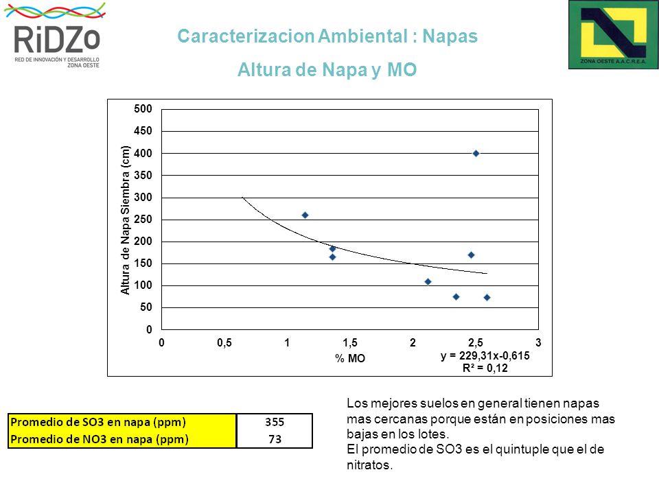 Caracterizacion Ambiental : Napas Altura de Napa y MO Los mejores suelos en general tienen napas mas cercanas porque están en posiciones mas bajas en los lotes.