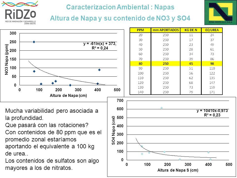 Caracterizacion Ambiental : Napas Altura de Napa y su contenido de NO3 y SO4 Mucha variabilidad pero asociada a la profundidad.