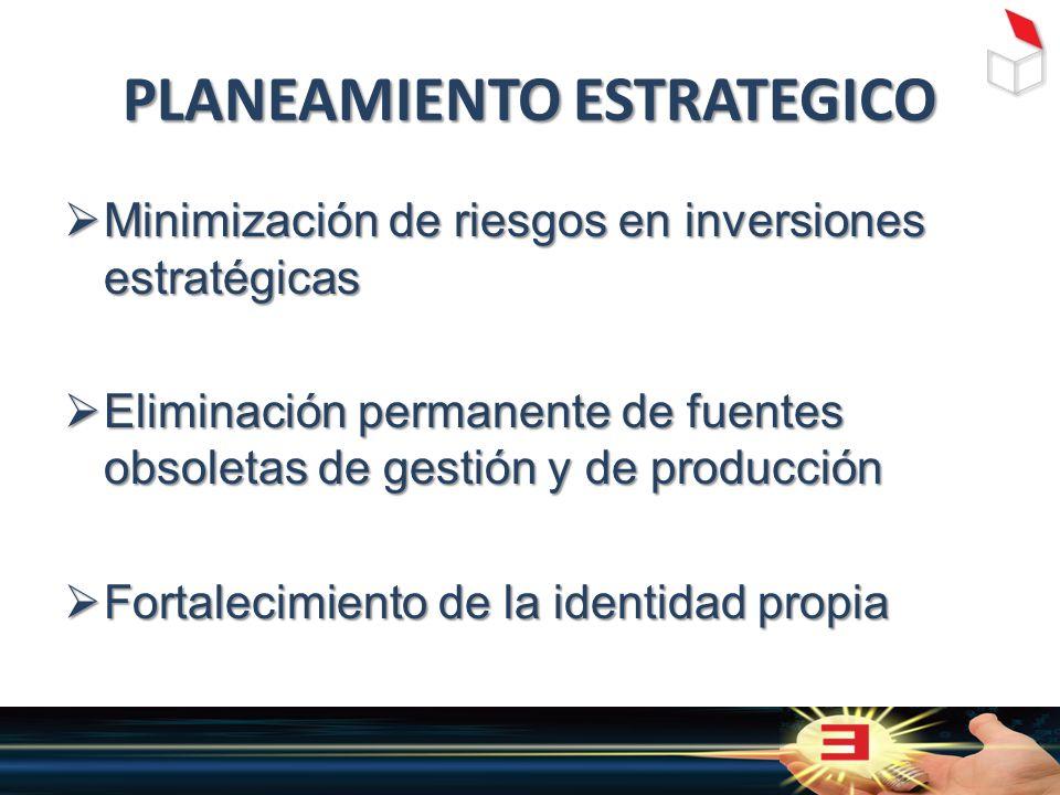 PLANEAMIENTO ESTRATEGICO  Minimización de riesgos en inversiones estratégicas  Eliminación permanente de fuentes obsoletas de gestión y de producción  Fortalecimiento de la identidad propia