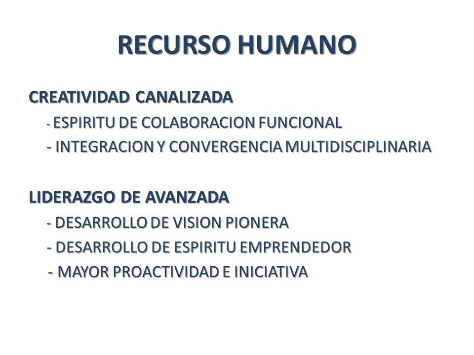RECURSO HUMANO CREATIVIDAD CANALIZADA - ESPIRITU DE COLABORACION FUNCIONAL - INTEGRACION Y CONVERGENCIA MULTIDISCIPLINARIA LIDERAZGO DE AVANZADA - DESARROLLO DE VISION PIONERA - DESARROLLO DE ESPIRITU EMPRENDEDOR - MAYOR PROACTIVIDAD E INICIATIVA - MAYOR PROACTIVIDAD E INICIATIVA