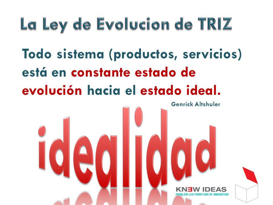 Todo sistema (productos, servicios) está en constante estado de evolución hacia el estado ideal.