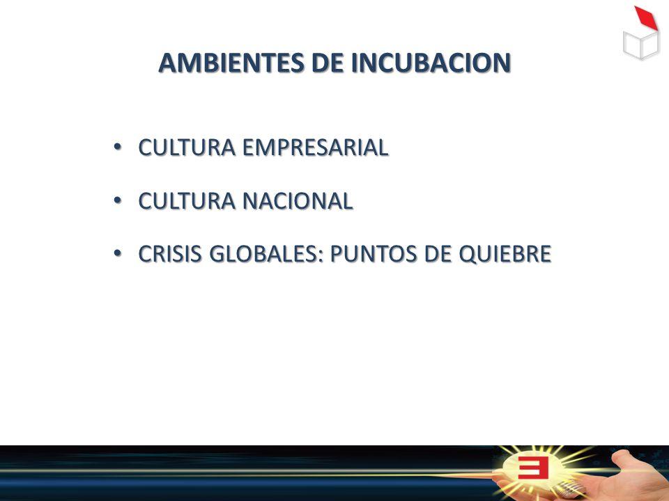 AMBIENTES DE INCUBACION CULTURA EMPRESARIAL CULTURA EMPRESARIAL CULTURA NACIONAL CULTURA NACIONAL CRISIS GLOBALES: PUNTOS DE QUIEBRE CRISIS GLOBALES: PUNTOS DE QUIEBRE