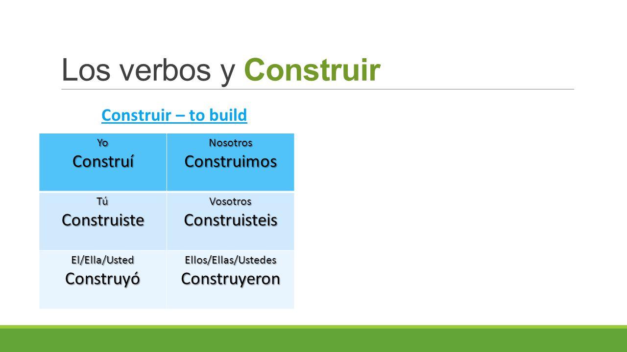 Los verbos y Construir YoConstruíNosotrosConstruimos TúConstruisteVosotrosConstruisteis El/Ella/UstedConstruyóEllos/Ellas/UstedesConstruyeron Construir – to build