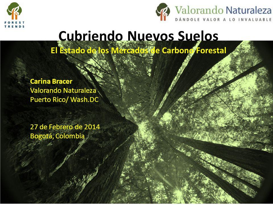 Cubriendo Nuevos Suelos El Estado de los Mercados de Carbono Forestal Carina Bracer Valorando Naturaleza Puerto Rico/ Wash.DC 27 de Febrero de 2014 Bogotá, Colombia