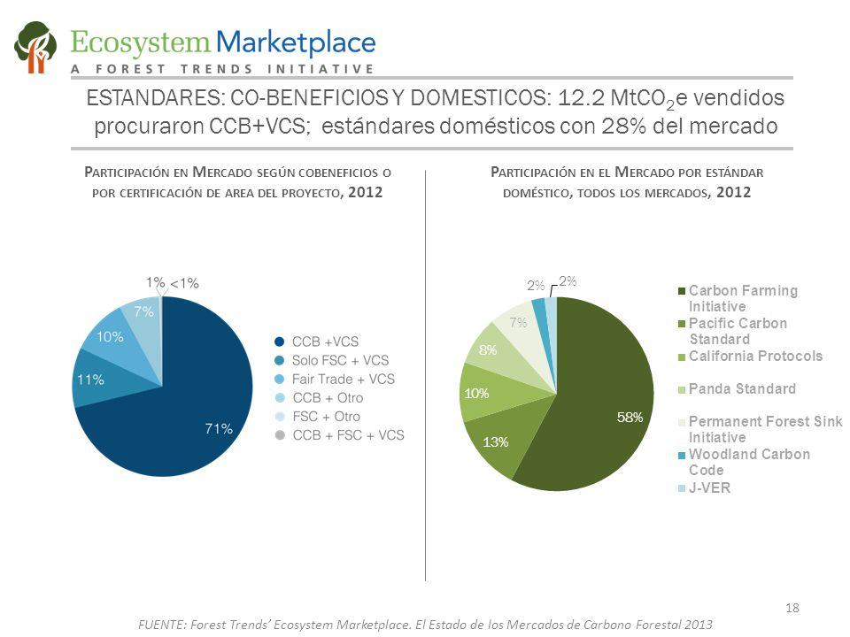 ESTANDARES: CO-BENEFICIOS Y DOMESTICOS: 12.2 MtCO 2 e vendidos procuraron CCB+VCS; estándares domésticos con 28% del mercado P ARTICIPACIÓN EN M ERCADO SEGÚN COBENEFICIOS O POR CERTIFICACIÓN DE AREA DEL PROYECTO, 2012 P ARTICIPACIÓN EN EL M ERCADO POR ESTÁNDAR DOMÉSTICO, TODOS LOS MERCADOS, 2012 18 FUENTE: Forest Trends' Ecosystem Marketplace.