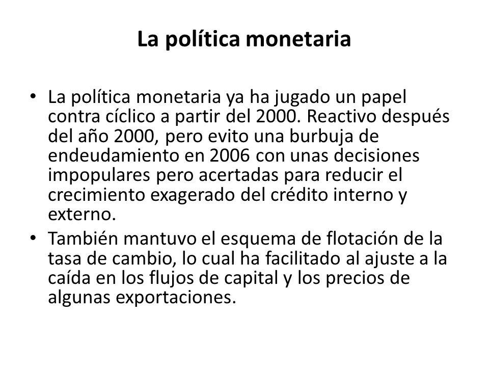La política monetaria La política monetaria ya ha jugado un papel contra cíclico a partir del 2000.