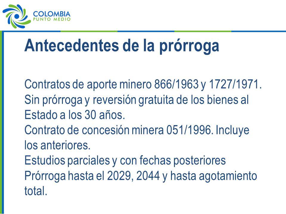 Antecedentes de la prórroga Contratos de aporte minero 866/1963 y 1727/1971.