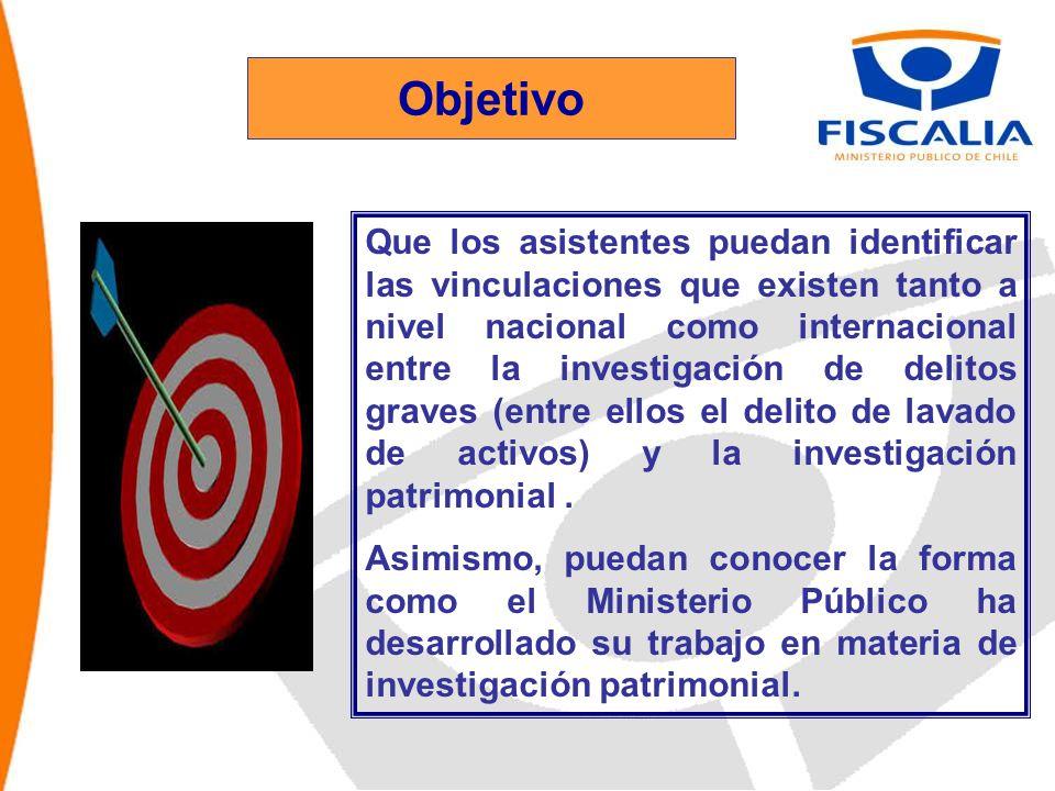 Objetivo Que los asistentes puedan identificar las vinculaciones que existen tanto a nivel nacional como internacional entre la investigación de delitos graves (entre ellos el delito de lavado de activos) y la investigación patrimonial.